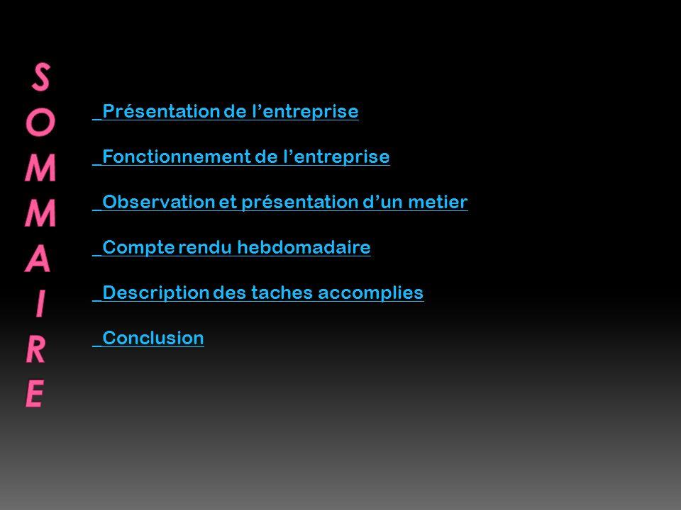 _Présentation de lentreprise _Fonctionnement de lentreprise _Observation et présentation dun metier _Compte rendu hebdomadaire _Description des taches