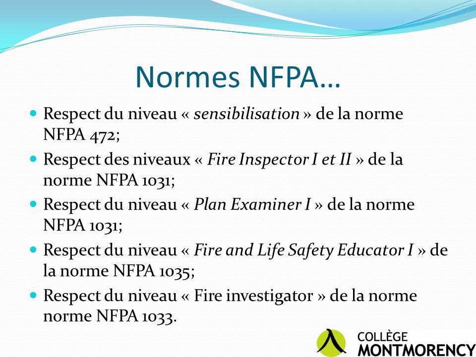 Normes NFPA… Respect du niveau « sensibilisation » de la norme NFPA 472; Respect des niveaux « Fire Inspector I et II » de la norme NFPA 1031; Respect