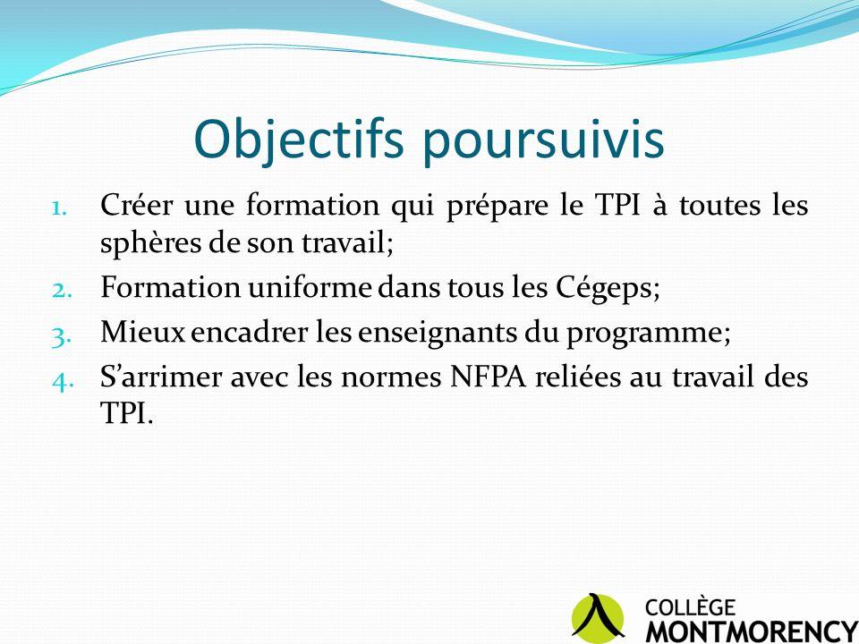 Objectifs poursuivis 1. Créer une formation qui prépare le TPI à toutes les sphères de son travail; 2. Formation uniforme dans tous les Cégeps; 3. Mie