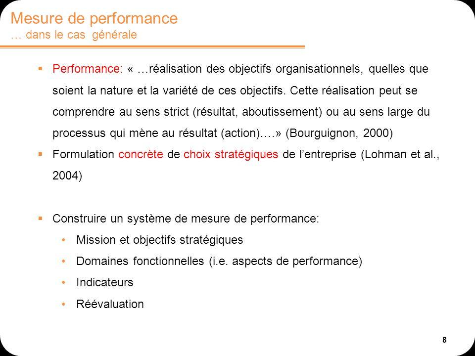 8 Performance: « …réalisation des objectifs organisationnels, quelles que soient la nature et la variété de ces objectifs. Cette réalisation peut se c