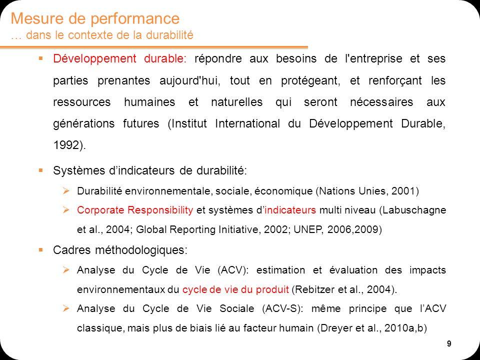 9 Développement durable: répondre aux besoins de l entreprise et ses parties prenantes aujourd hui, tout en protégeant, et renforçant les ressources humaines et naturelles qui seront nécessaires aux générations futures (Institut International du Développement Durable, 1992).