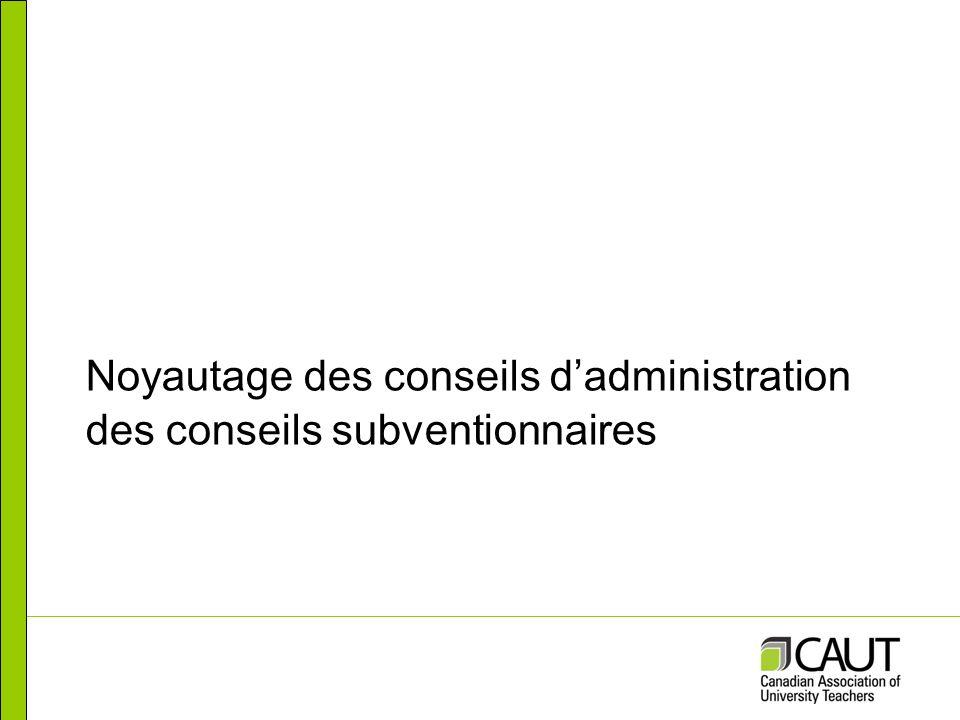 Noyautage des conseils dadministration des conseils subventionnaires