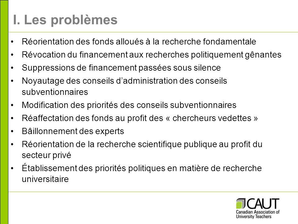 I. Les problèmes Réorientation des fonds alloués à la recherche fondamentale Révocation du financement aux recherches politiquement gênantes Suppressi