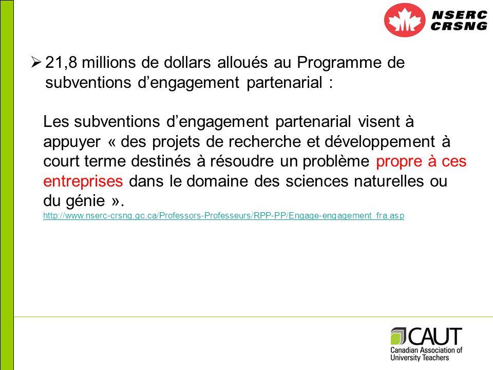 21,8 millions de dollars alloués au Programme de subventions dengagement partenarial : Les subventions dengagement partenarial visent à appuyer « des projets de recherche et développement à court terme destinés à résoudre un problème propre à ces entreprises dans le domaine des sciences naturelles ou du génie ».