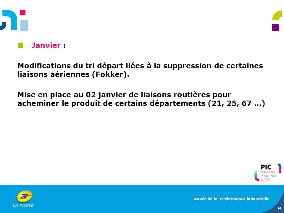 Janvier : Modifications du tri départ liées à la suppression de certaines liaisons aériennes (Fokker). Mise en place au 02 janvier de liaisons routièr