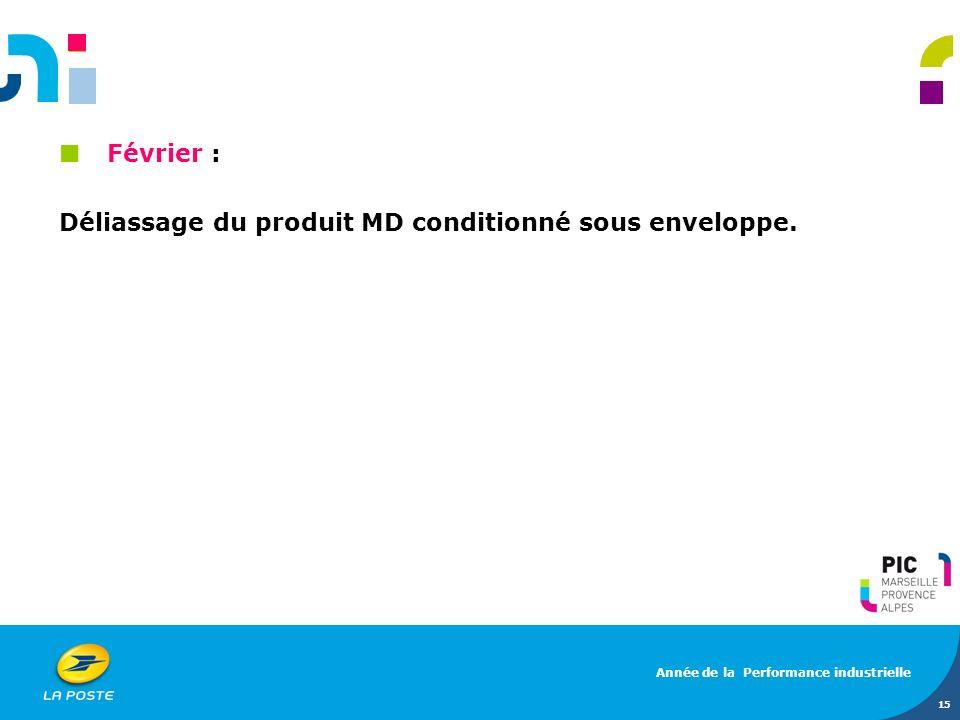 Février : Déliassage du produit MD conditionné sous enveloppe. 15 Année de la Performance industrielle
