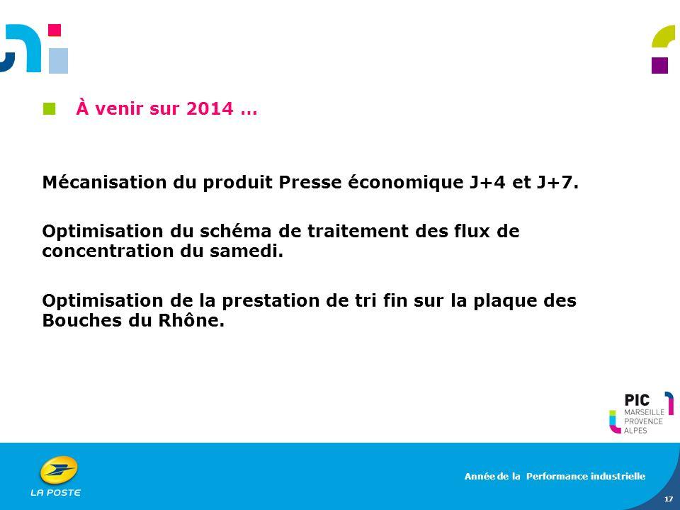 À venir sur 2014 … Mécanisation du produit Presse économique J+4 et J+7. Optimisation du schéma de traitement des flux de concentration du samedi. Opt