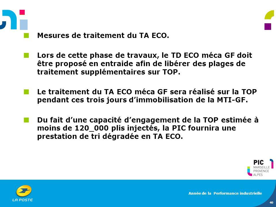 40 Mesures de traitement du TA ECO. Lors de cette phase de travaux, le TD ECO méca GF doit être proposé en entraide afin de libérer des plages de trai