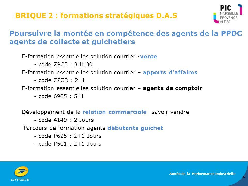 BRIQUE 2 : formations stratégiques D.A.S Poursuivre la montée en compétence des agents de la PPDC agents de collecte et guichetiers E-formation essent