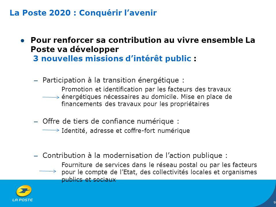 La Poste 2020 : Conquérir lavenir Pour renforcer sa contribution au vivre ensemble La Poste va développer 3 nouvelles missions dintérêt public : – Par