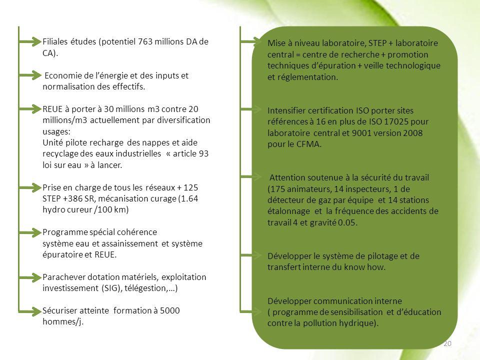 Filiales études (potentiel 763 millions DA de CA). Economie de lénergie et des inputs et normalisation des effectifs. REUE à porter à 30 millions m3 c