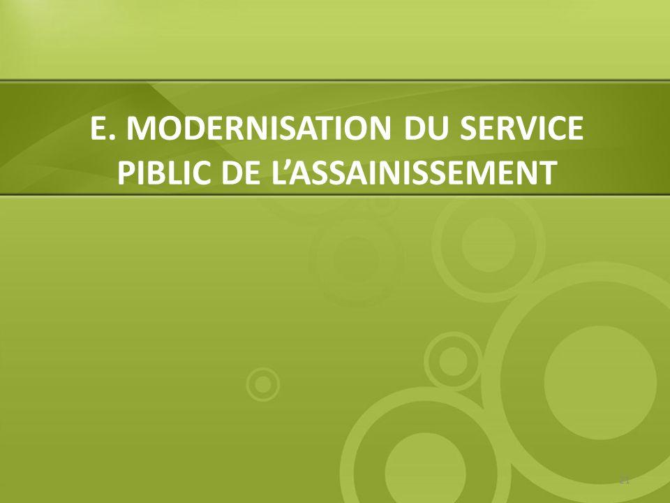 E. MODERNISATION DU SERVICE PIBLIC DE LASSAINISSEMENT 21