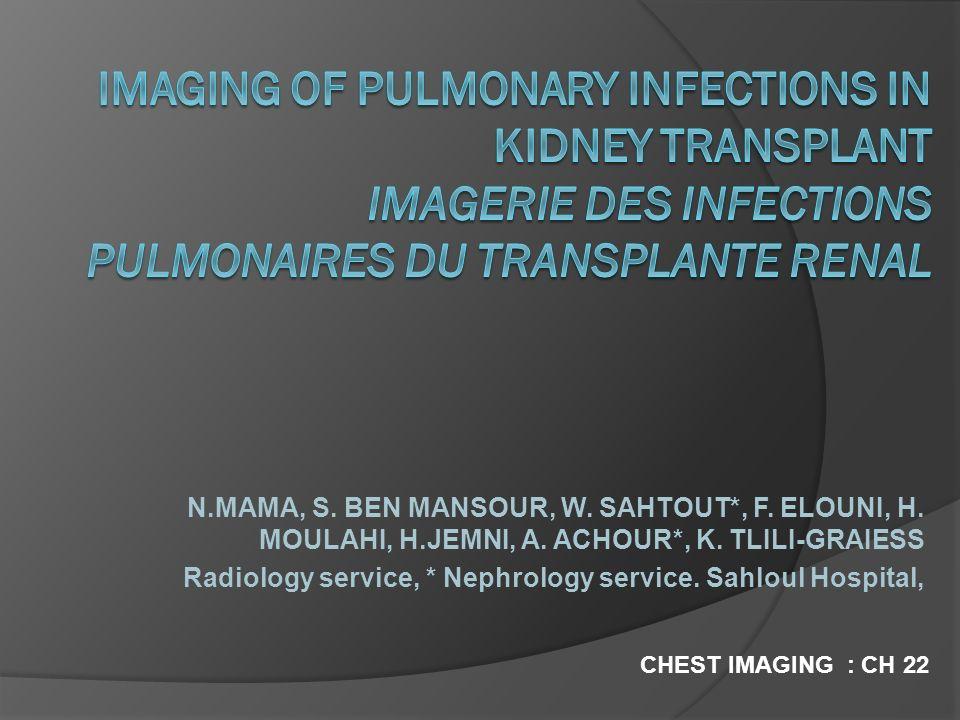 N.MAMA, S. BEN MANSOUR, W. SAHTOUT*, F. ELOUNI, H. MOULAHI, H.JEMNI, A. ACHOUR*, K. TLILI-GRAIESS Radiology service, * Nephrology service. Sahloul Hos