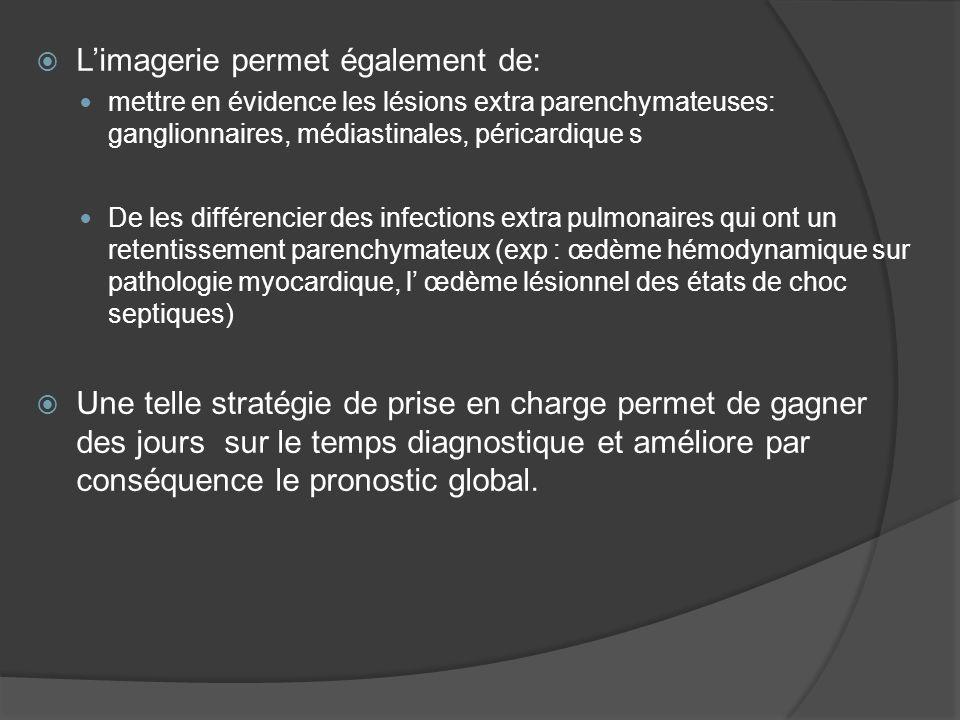 Limagerie permet également de: mettre en évidence les lésions extra parenchymateuses: ganglionnaires, médiastinales, péricardique s De les différencie