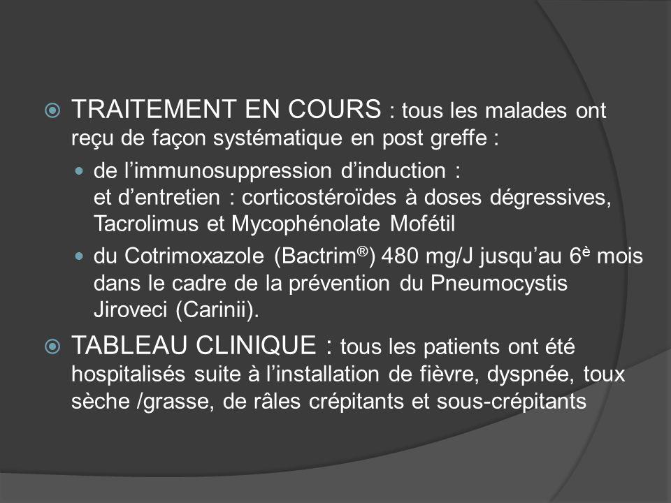 TRAITEMENT EN COURS : tous les malades ont reçu de façon systématique en post greffe : de limmunosuppression dinduction : et dentretien : corticostéro