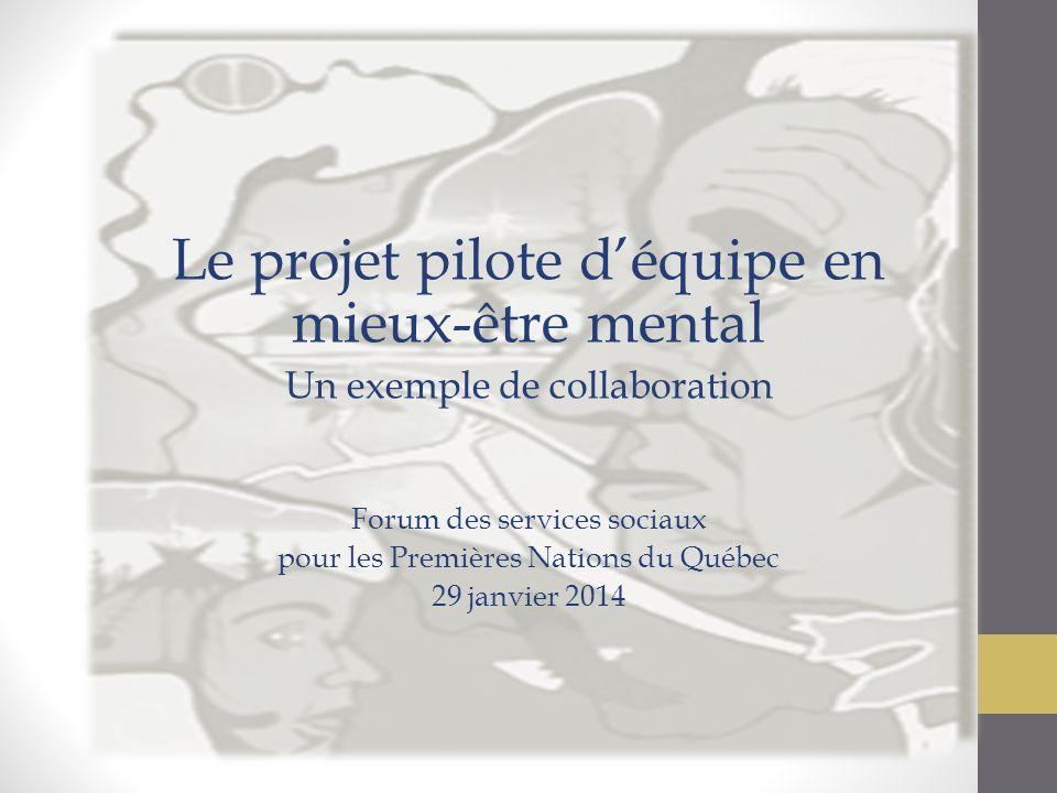 Le projet pilote déquipe en mieux-être mental Un exemple de collaboration Forum des services sociaux pour les Premières Nations du Québec 29 janvier 2