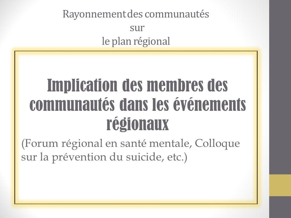 Rayonnement des communautés sur le plan régional Implication des membres des communautés dans les événements régionaux (Forum régional en santé mentale, Colloque sur la prévention du suicide, etc.)