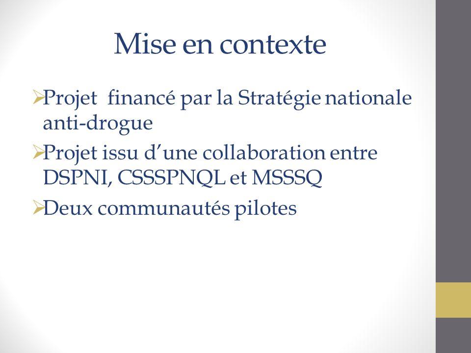 Mise en contexte Projet financé par la Stratégie nationale anti-drogue Projet issu dune collaboration entre DSPNI, CSSSPNQL et MSSSQ Deux communautés pilotes