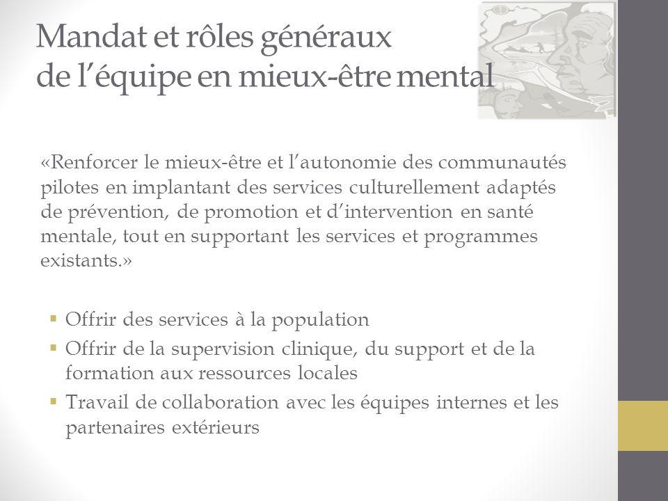 Mandat et rôles généraux de léquipe en mieux-être mental «Renforcer le mieux-être et lautonomie des communautés pilotes en implantant des services cul