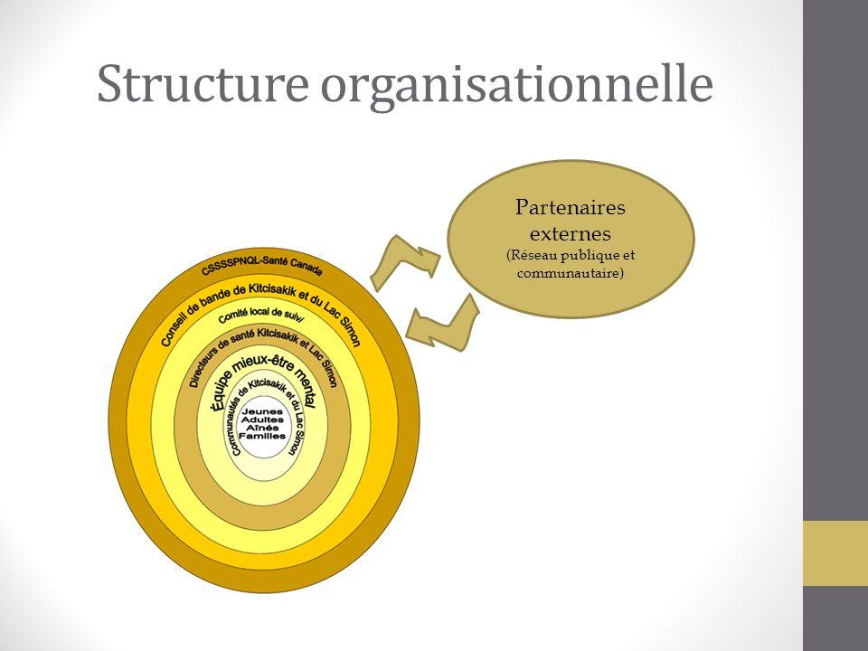 Structure organisationnelle Partenaires externes (Réseau publique et communautaire)