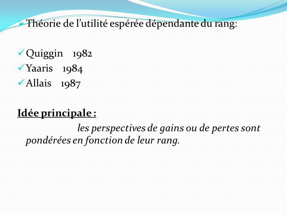 Théorie de lutilité espérée dépendante du rang: Quiggin 1982 Yaaris 1984 Allais 1987 Idée principale : les perspectives de gains ou de pertes sont pon