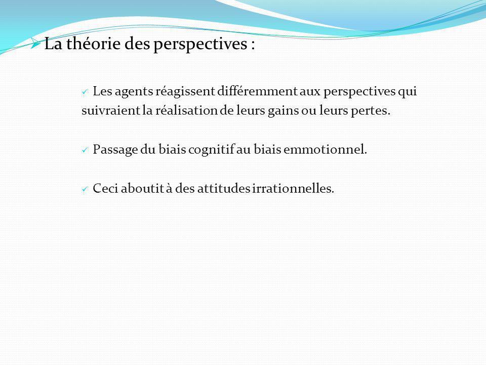 La théorie des perspectives : Les agents réagissent différemment aux perspectives qui suivraient la réalisation de leurs gains ou leurs pertes. Passag
