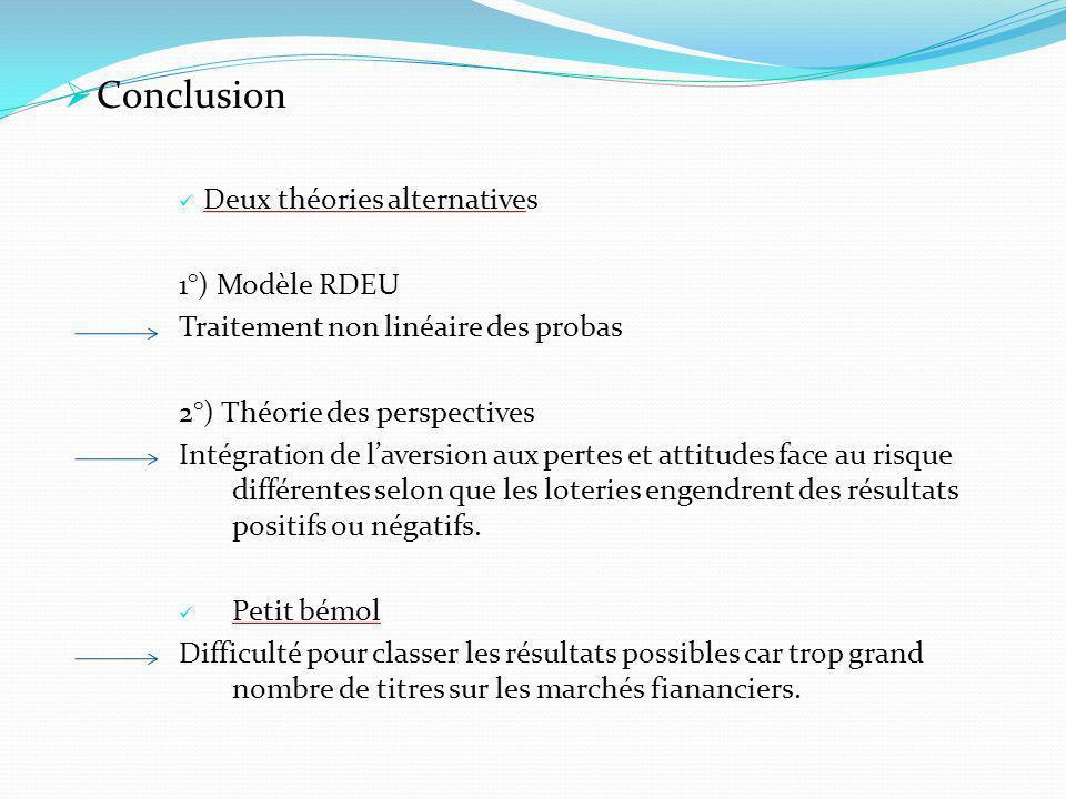 Conclusion Deux théories alternatives 1°) Modèle RDEU Traitement non linéaire des probas 2°) Théorie des perspectives Intégration de laversion aux per