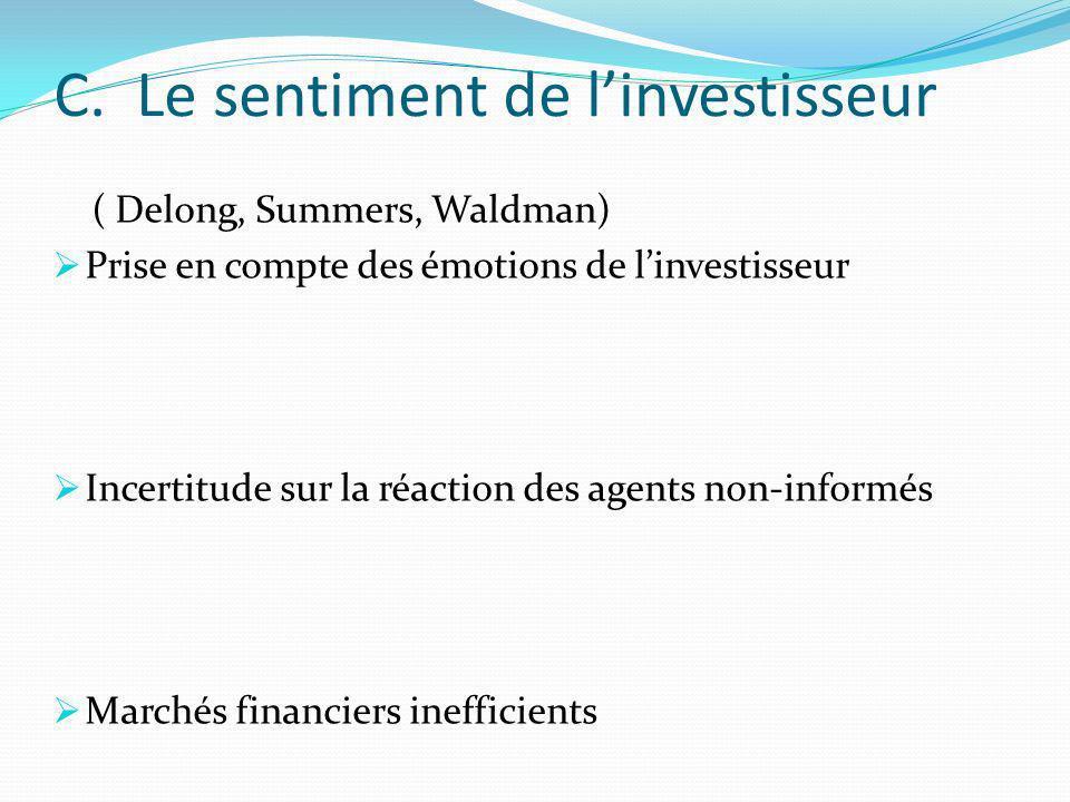 C. Le sentiment de linvestisseur ( Delong, Summers, Waldman) Prise en compte des émotions de linvestisseur Incertitude sur la réaction des agents non-