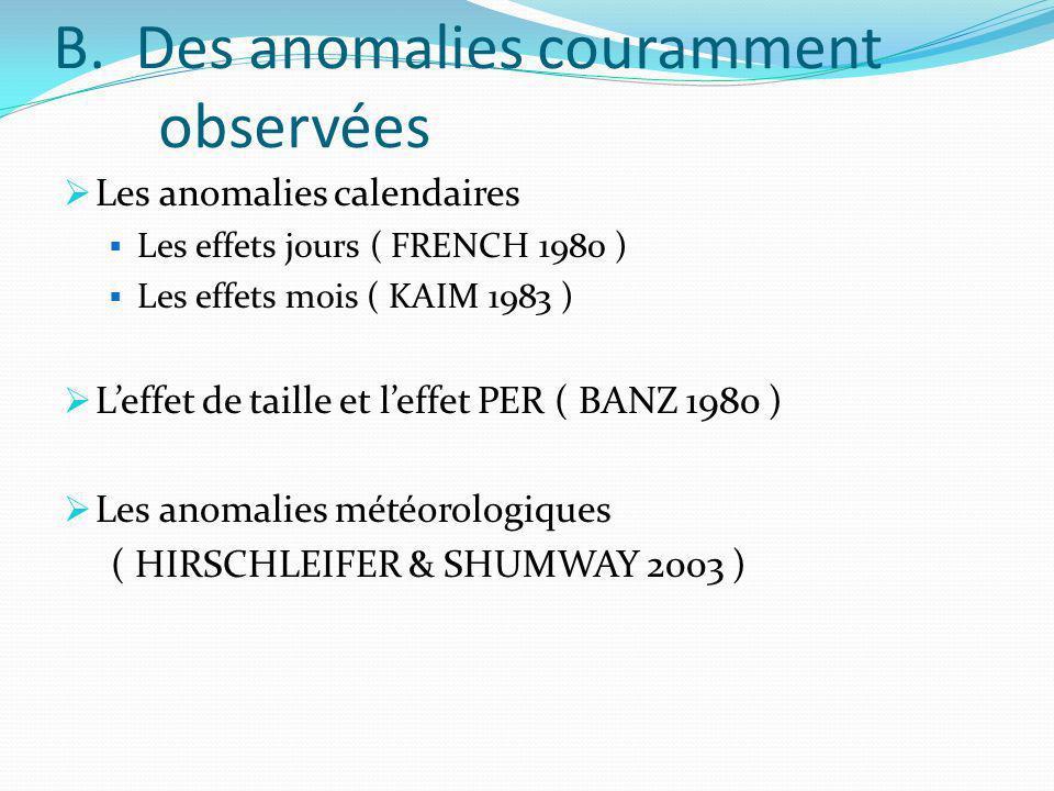 B. Des anomalies couramment observées Les anomalies calendaires Les effets jours ( FRENCH 1980 ) Les effets mois ( KAIM 1983 ) Leffet de taille et lef