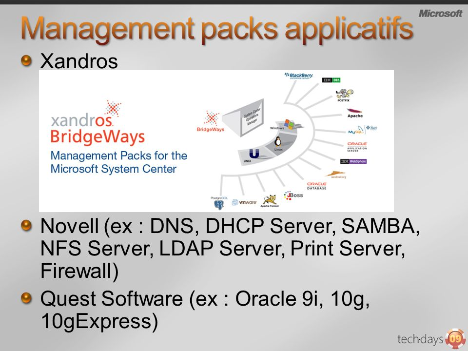 Xandros Novell (ex : DNS, DHCP Server, SAMBA, NFS Server, LDAP Server, Print Server, Firewall) Quest Software (ex : Oracle 9i, 10g, 10gExpress)