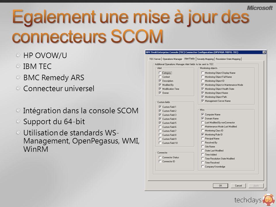 HP OVOW/U IBM TEC BMC Remedy ARS Connecteur universel Intégration dans la console SCOM Support du 64-bit Utilisation de standards WS- Management, OpenPegasus, WMI, WinRM