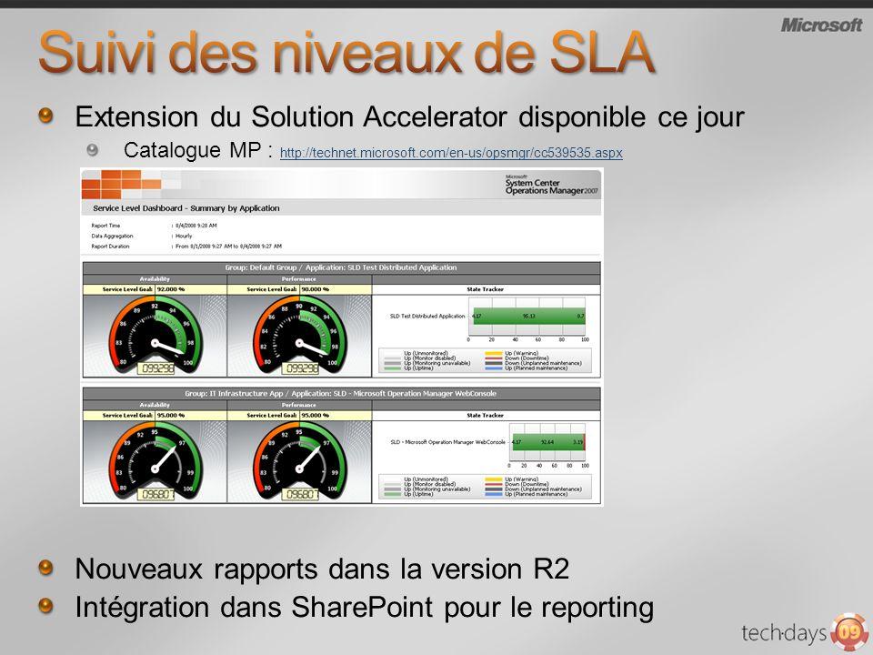 Extension du Solution Accelerator disponible ce jour Catalogue MP : http://technet.microsoft.com/en-us/opsmgr/cc539535.aspx http://technet.microsoft.com/en-us/opsmgr/cc539535.aspx Nouveaux rapports dans la version R2 Intégration dans SharePoint pour le reporting
