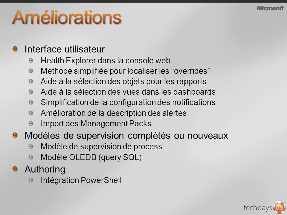 Interface utilisateur Health Explorer dans la console web Méthode simplifiée pour localiser les overrides Aide à la sélection des objets pour les rapports Aide à la sélection des vues dans les dashboards Simplification de la configuration des notifications Amélioration de la description des alertes Import des Management Packs Modèles de supervision complétés ou nouveaux Modèle de supervision de process Modèle OLEDB (query SQL) Authoring Intégration PowerShell