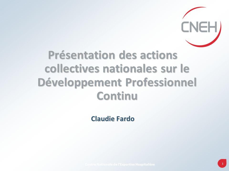 1 Centre Nationale de lExpertise Hospitalière Présentation des actions collectives nationales sur le Développement Professionnel Continu Claudie Fardo