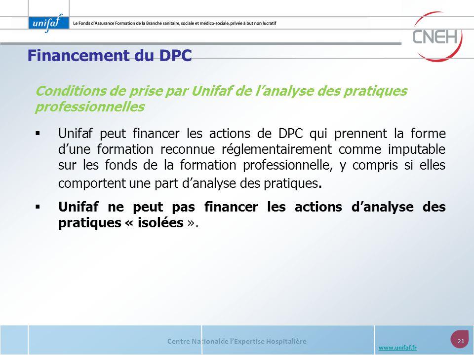 Centre Nationalde lExpertise Hospitalière 21 www.unifaf.fr Conditions de prise par Unifaf de lanalyse des pratiques professionnelles Unifaf peut finan