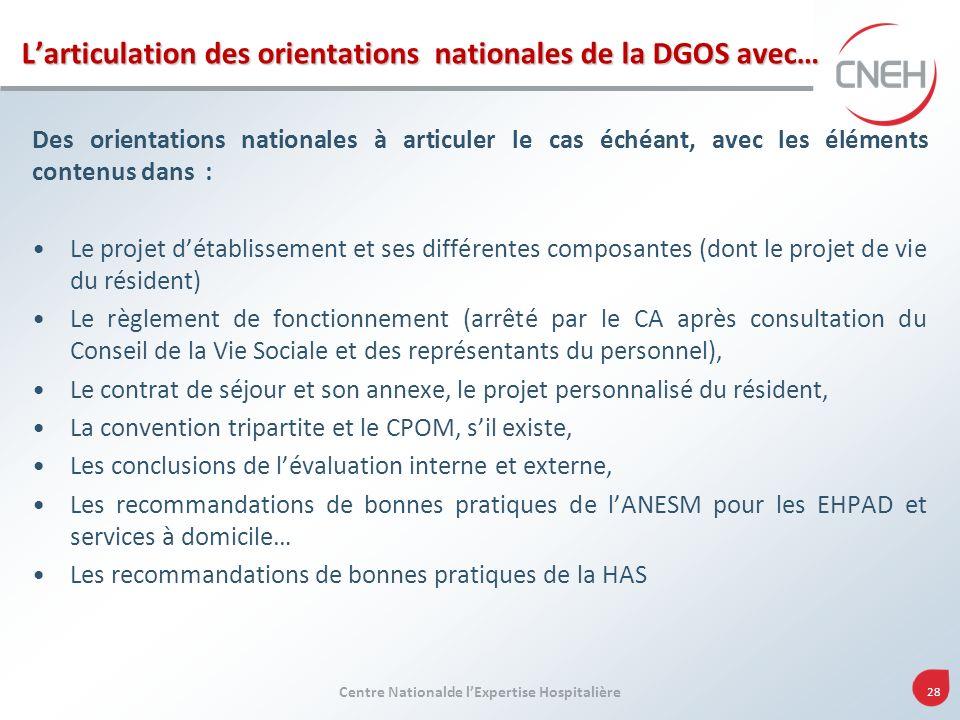 Centre Nationalde lExpertise Hospitalière 28 Larticulation des orientations nationales de la DGOS avec… Des orientations nationales à articuler le cas