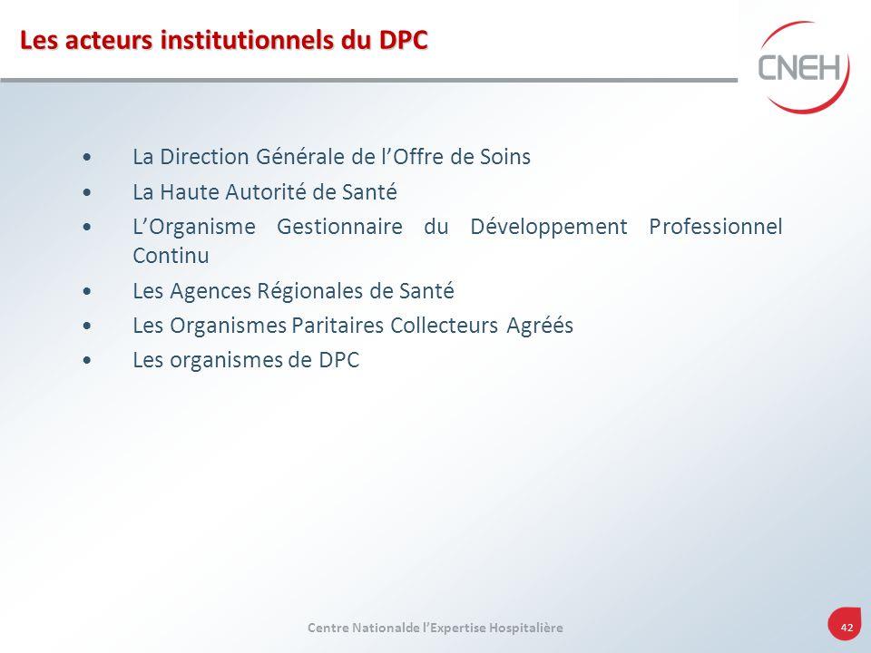 Centre Nationalde lExpertise Hospitalière 42 Les acteurs institutionnels du DPC La Direction Générale de lOffre de Soins La Haute Autorité de Santé LO