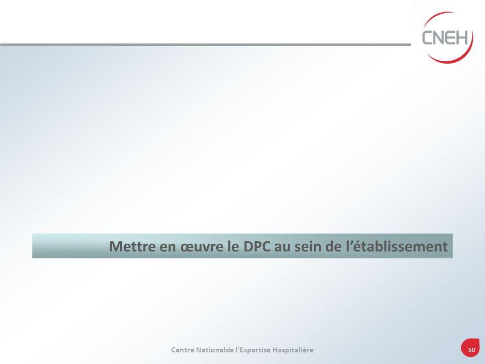 Centre Nationalde lExpertise Hospitalière 50 Mettre en œuvre le DPC au sein de létablissement