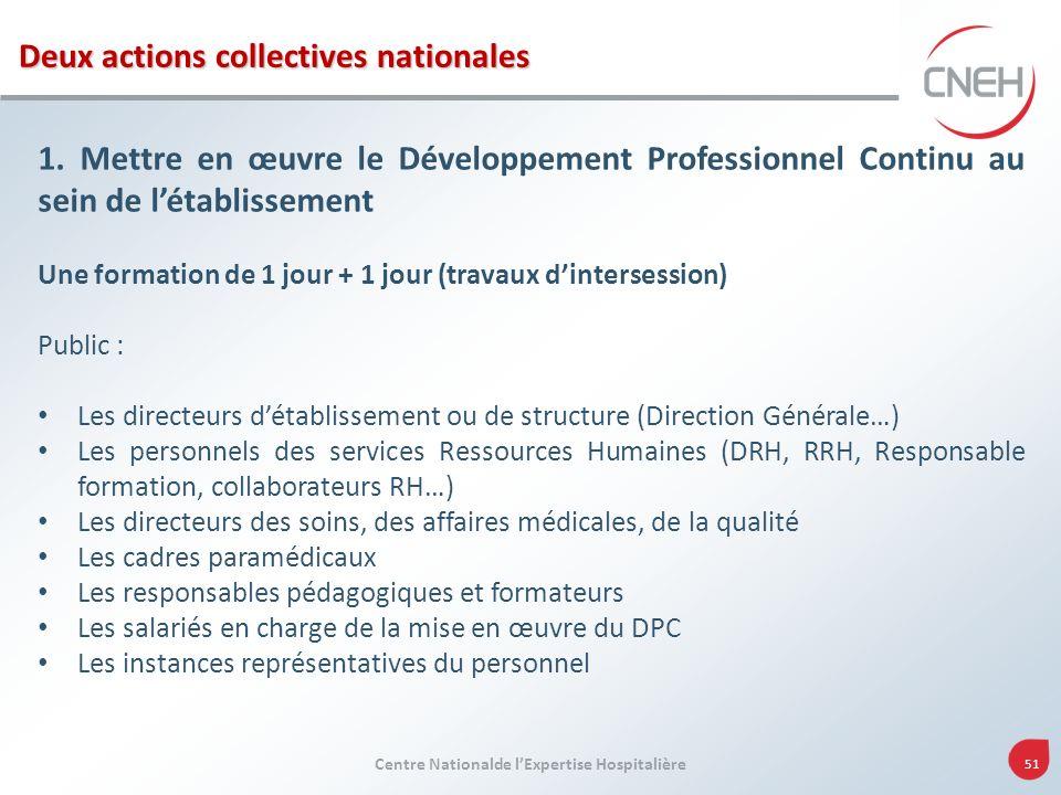Centre Nationalde lExpertise Hospitalière 51 1. Mettre en œuvre le Développement Professionnel Continu au sein de létablissement Une formation de 1 jo