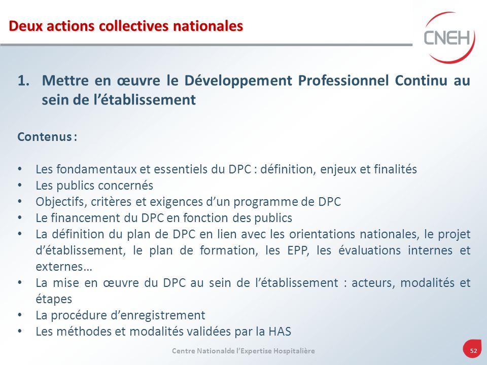 Centre Nationalde lExpertise Hospitalière 52 1.Mettre en œuvre le Développement Professionnel Continu au sein de létablissement Contenus : Les fondame