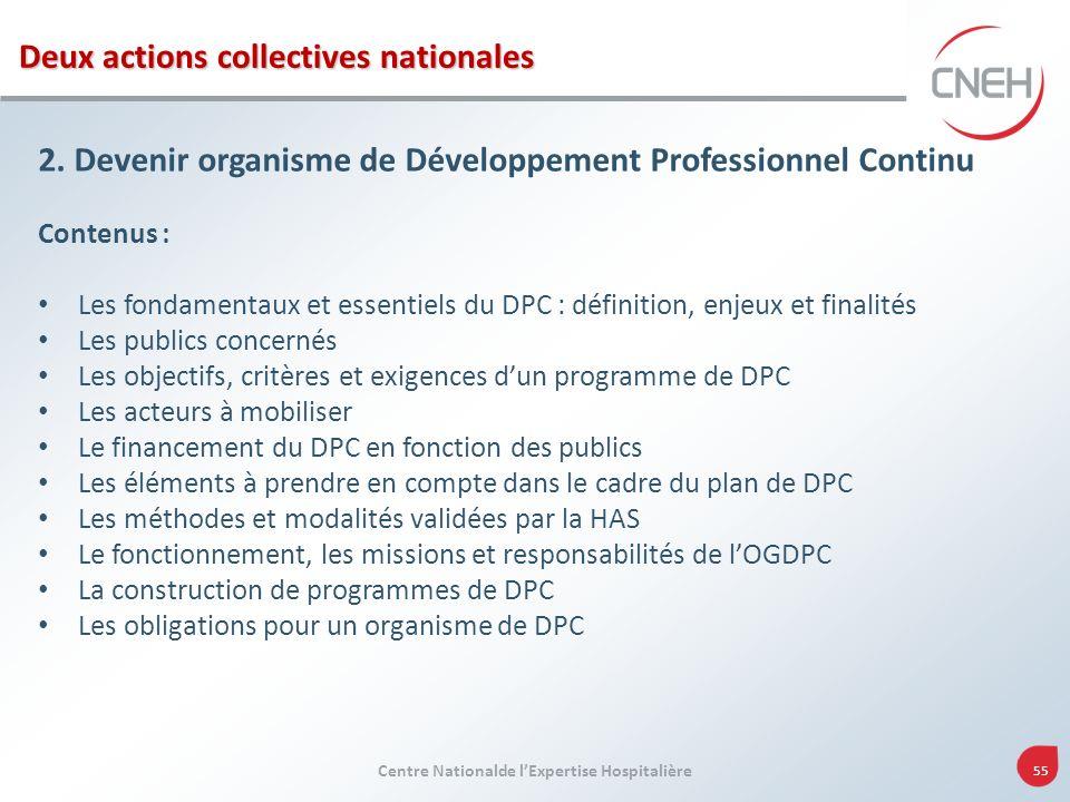 Centre Nationalde lExpertise Hospitalière 55 2. Devenir organisme de Développement Professionnel Continu Contenus : Les fondamentaux et essentiels du
