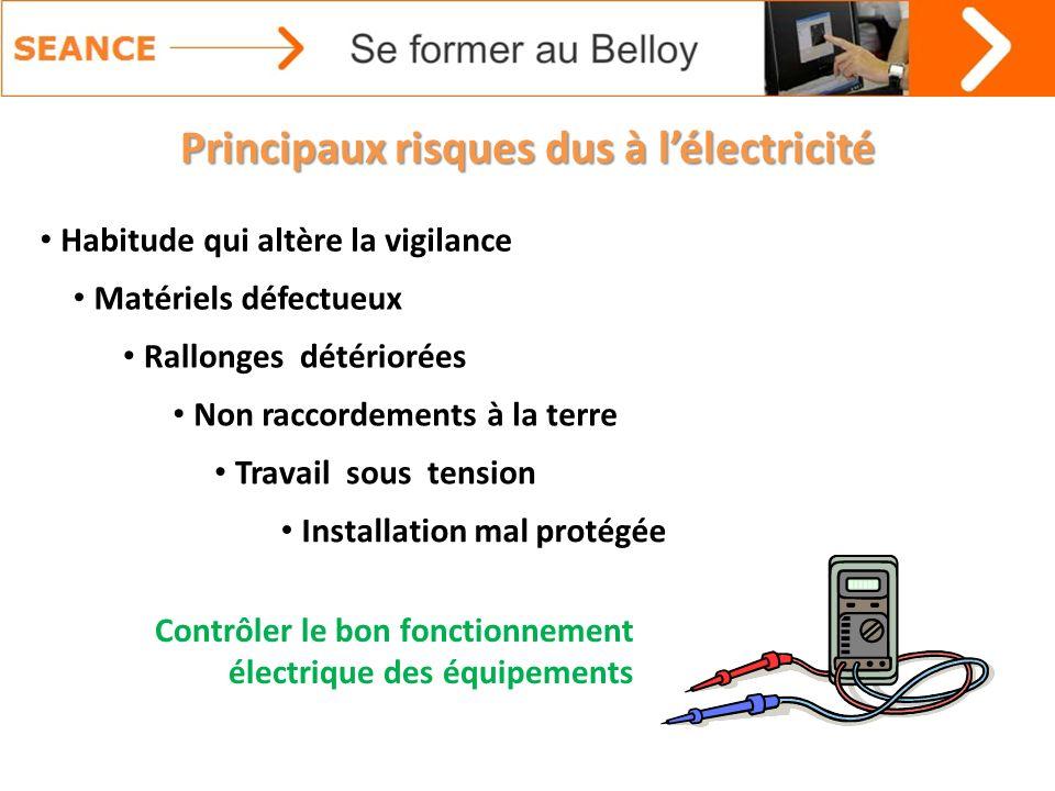 Principaux risques dus à lélectricité Matériels défectueux Rallonges détériorées Non raccordements à la terre Travail sous tension Installation mal pr