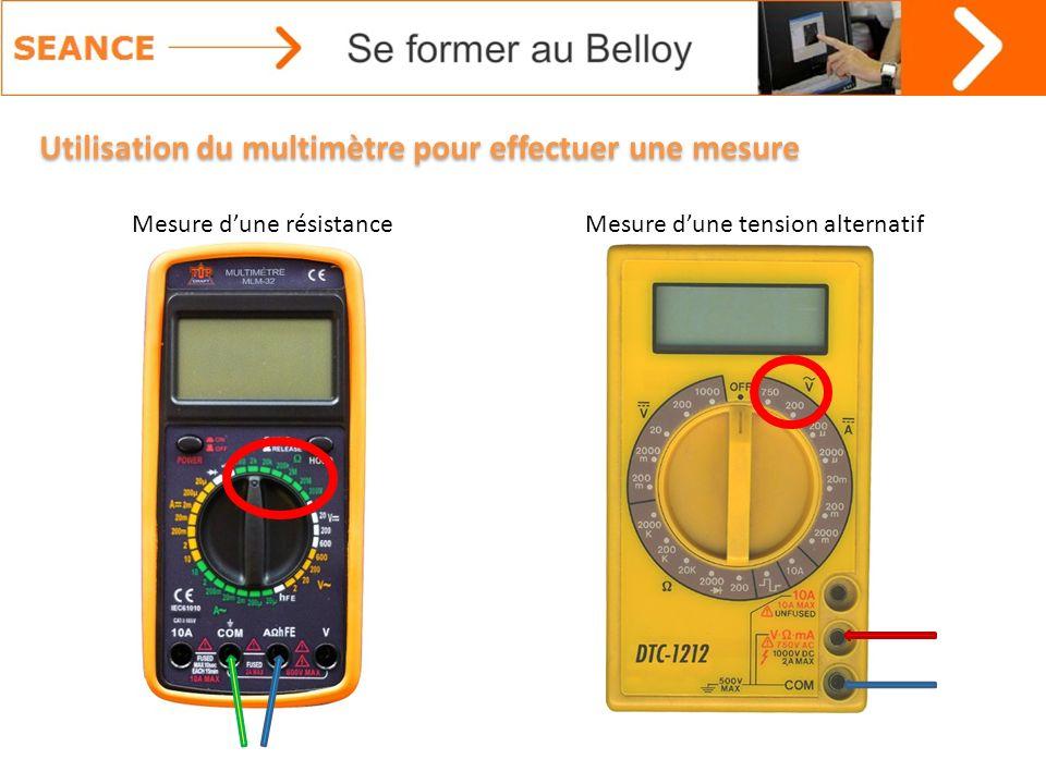 Utilisation du multimètre pour effectuer une mesure Mesure dune résistanceMesure dune tension alternatif