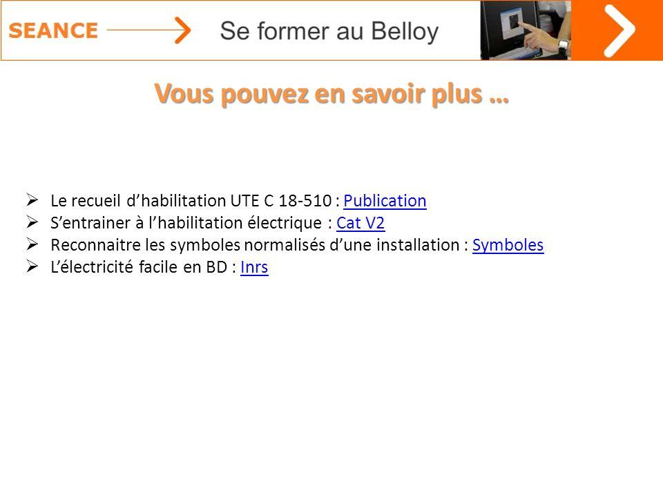 Vous pouvez en savoir plus … Le recueil dhabilitation UTE C 18-510 : PublicationPublication Sentrainer à lhabilitation électrique : Cat V2Cat V2 Recon