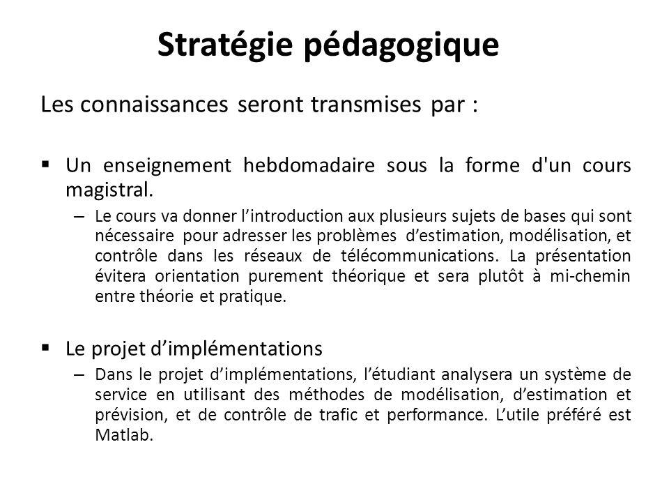 Stratégie pédagogique Les connaissances seront transmises par : Un enseignement hebdomadaire sous la forme d un cours magistral.
