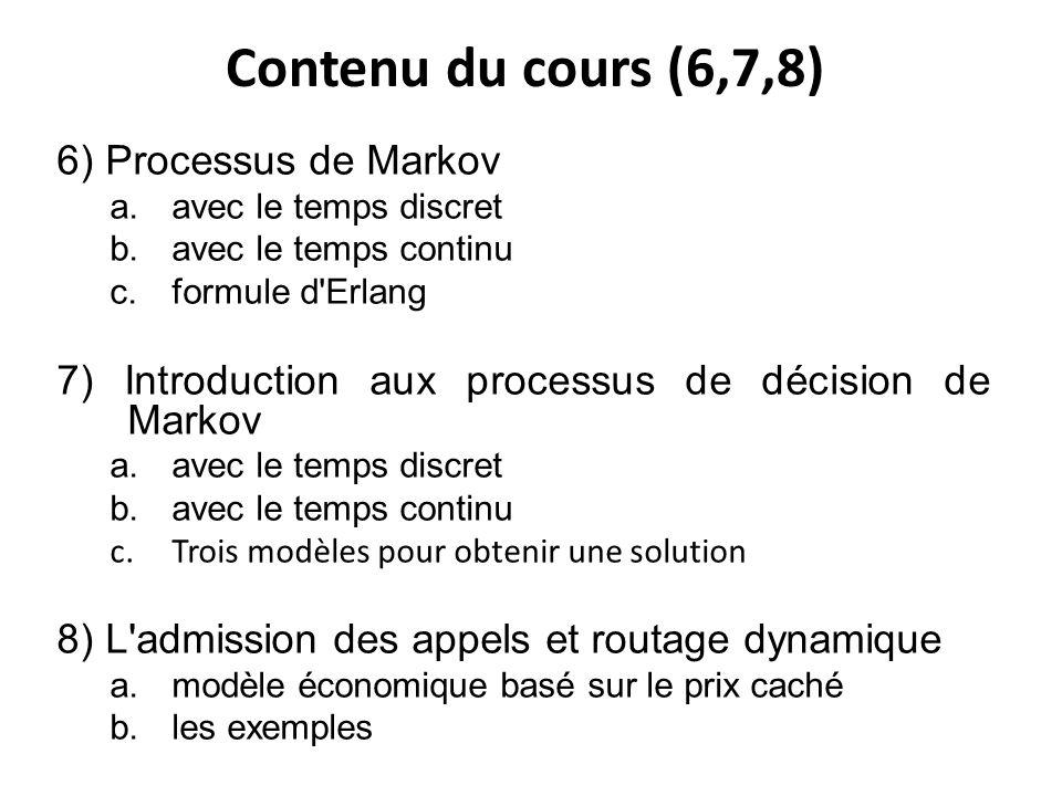 Contenu du cours (6,7,8) 6) Processus de Markov a.avec le temps discret b.avec le temps continu c.formule d Erlang 7) Introduction aux processus de décision de Markov a.avec le temps discret b.avec le temps continu c.Trois modèles pour obtenir une solution 8) L admission des appels et routage dynamique a.modèle économique basé sur le prix caché b.les exemples