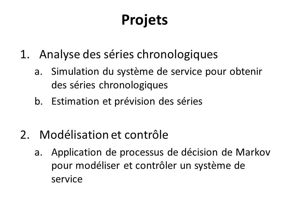 Projets 1.Analyse des séries chronologiques a.Simulation du système de service pour obtenir des séries chronologiques b.Estimation et prévision des séries 2.Modélisation et contrôle a.Application de processus de décision de Markov pour modéliser et contrôler un système de service