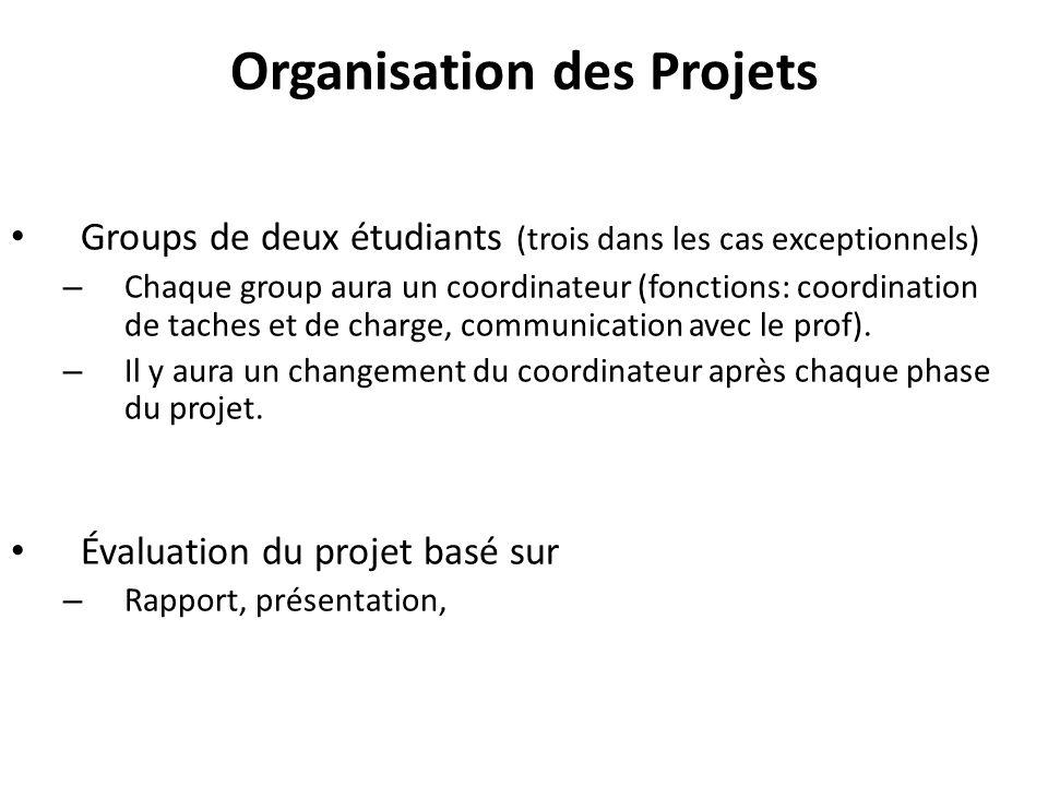Organisation des Projets Groups de deux étudiants (trois dans les cas exceptionnels) – Chaque group aura un coordinateur (fonctions: coordination de taches et de charge, communication avec le prof).