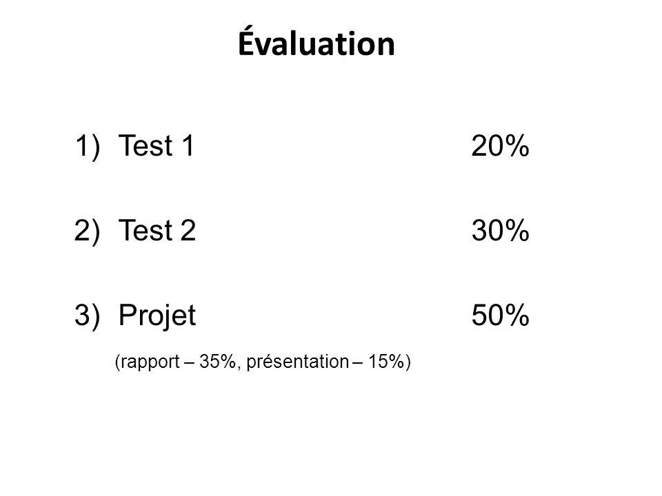 Évaluation 1)Test 1 20% 2)Test 2 30% 3)Projet50% (rapport – 35%, présentation – 15%)