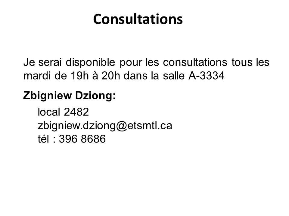 Consultations Je serai disponible pour les consultations tous les mardi de 19h à 20h dans la salle A-3334 Zbigniew Dziong: local 2482 zbigniew.dziong@etsmtl.ca tél : 396 8686